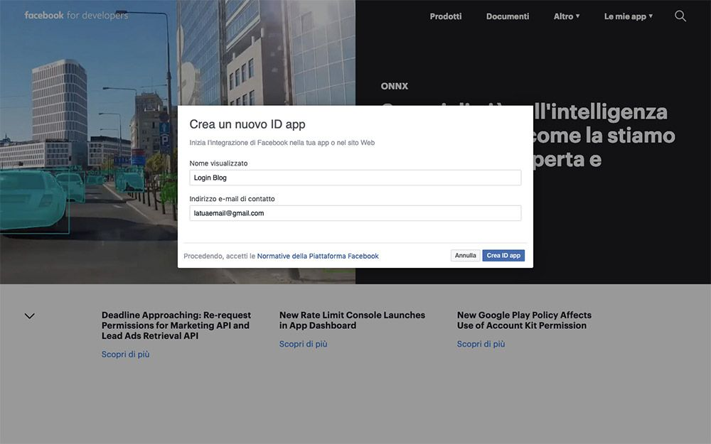Crea una nuova app su Facebook per Developers