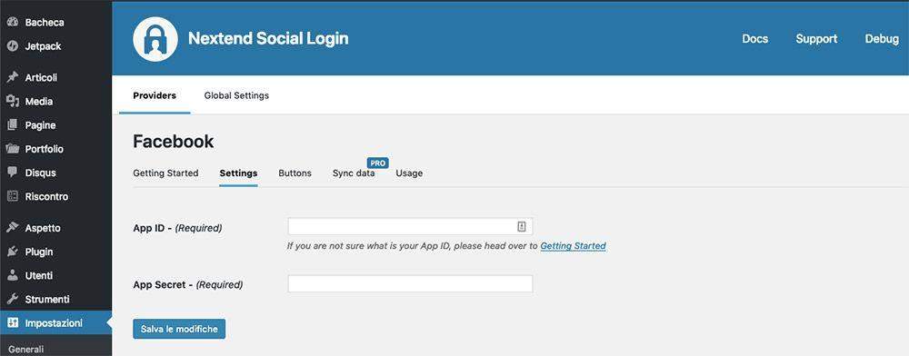Aggiungi l'app ID e l'app secret sul tuo sito web